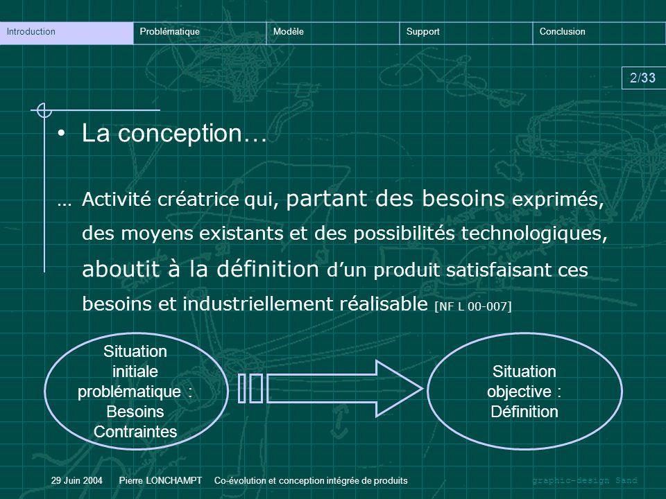 graphic-design Sand IntroductionProblématiqueModèleSupportConclusion 2/33 29 Juin 2004 Pierre LONCHAMPT Co-évolution et conception intégrée de produit