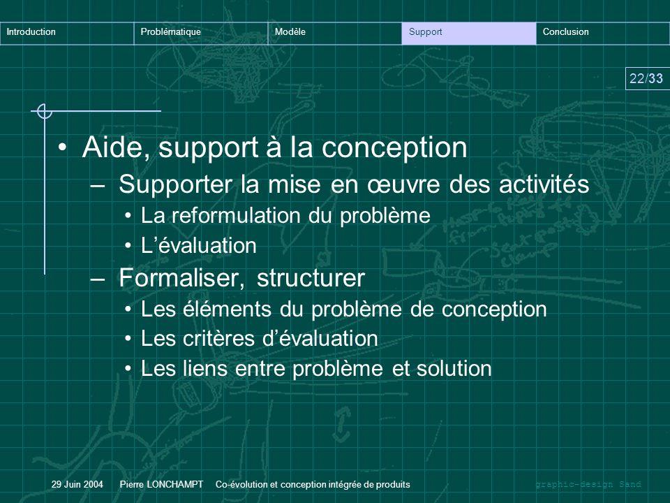 graphic-design Sand IntroductionProblématiqueModèleSupportConclusion 22/33 29 Juin 2004 Pierre LONCHAMPT Co-évolution et conception intégrée de produi