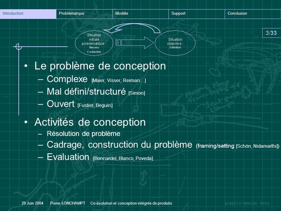 graphic-design Sand IntroductionProblématiqueModèleSupportConclusion 3/33 29 Juin 2004 Pierre LONCHAMPT Co-évolution et conception intégrée de produit