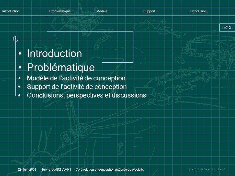 graphic-design Sand IntroductionProblématiqueModèleSupportConclusion 5/33 29 Juin 2004 Pierre LONCHAMPT Co-évolution et conception intégrée de produit