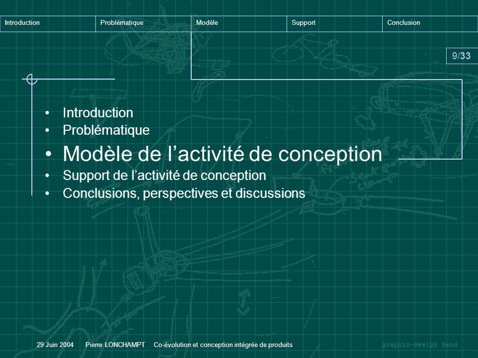 graphic-design Sand IntroductionProblématiqueModèleSupportConclusion 9/33 29 Juin 2004 Pierre LONCHAMPT Co-évolution et conception intégrée de produit