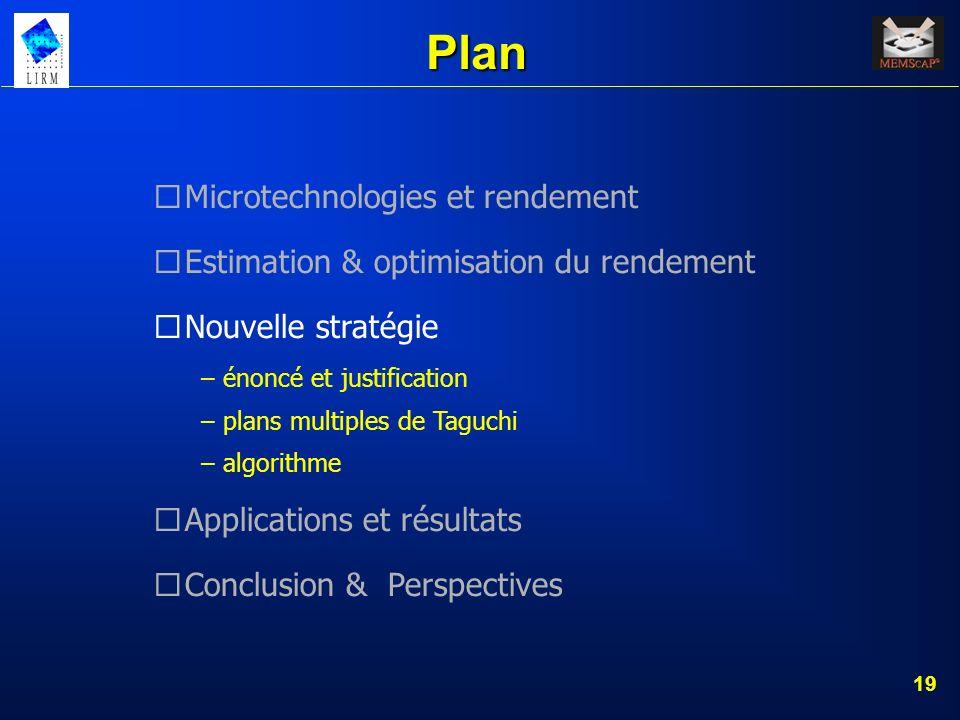 19 Plan Microtechnologies et rendement Estimation & optimisation du rendement Nouvelle stratégie – énoncé et justification – plans multiples de Taguch