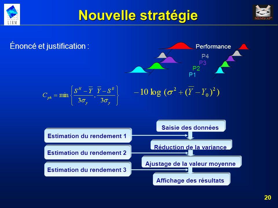 20 Nouvelle stratégie Énoncé et justification : P1 P2 P3 P4 Performance Estimation du rendement 1 Estimation du rendement 2 Estimation du rendement 3
