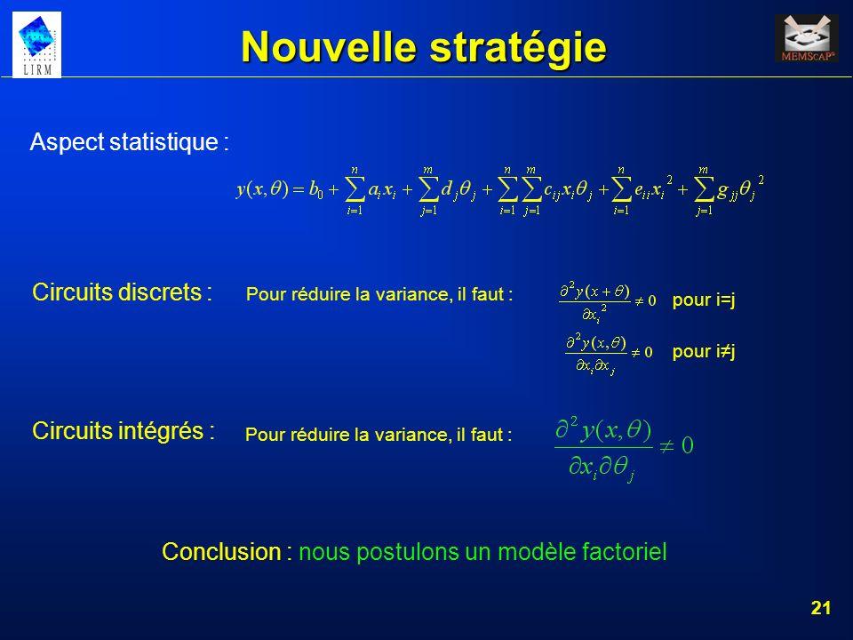 21 Nouvelle stratégie Aspect statistique : Circuits discrets : Pour réduire la variance, il faut : pour ij pour i=jPour réduire la variance, il faut :