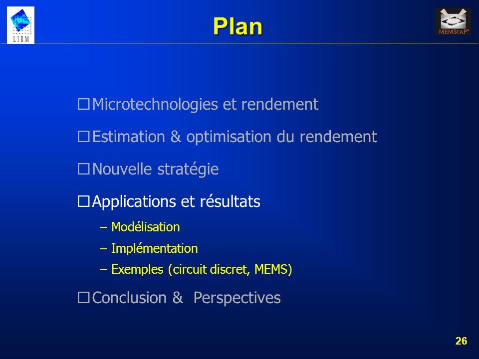 26 Plan Microtechnologies et rendement Estimation & optimisation du rendement Nouvelle stratégie Applications et résultats – Modélisation – Implémenta