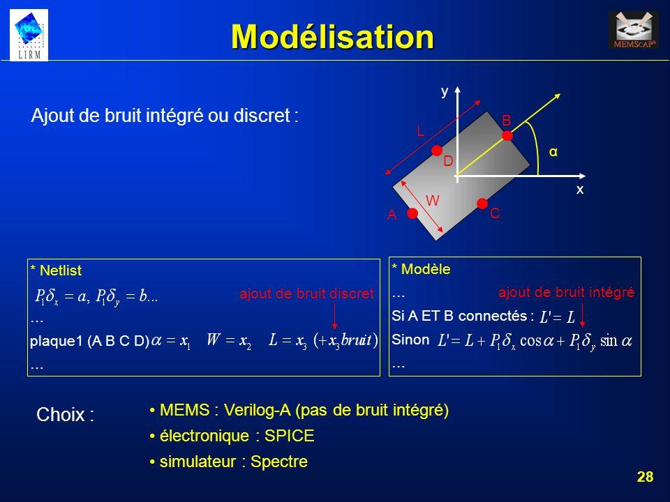 28 Modélisation Ajout de bruit intégré ou discret : * Netlist ajout de bruit discret … plaque1 (A B C D) … * Modèle … ajout de bruit intégré Si A ET B