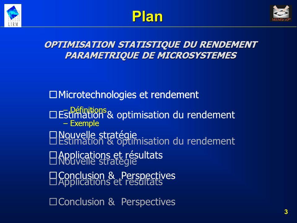 3 Plan Microtechnologies et rendement Estimation & optimisation du rendement Nouvelle stratégie Applications et résultats Conclusion & Perspectives OP