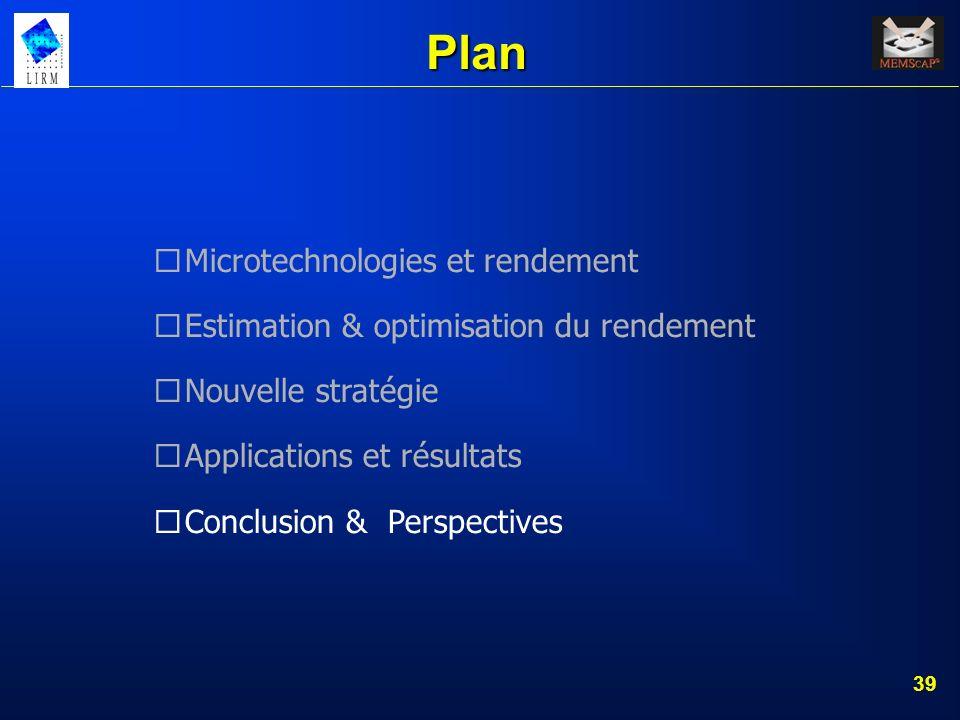 40 Conclusion Un algorithme doptimisation du rendement bien adapté aux MEMS est proposé Lapproche est validée par une analyse de Monte- Carlo avant et après optimisation.