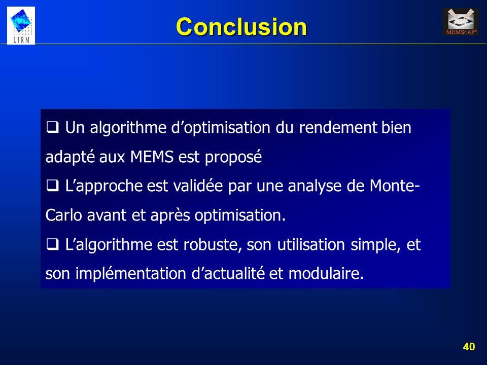 40 Conclusion Un algorithme doptimisation du rendement bien adapté aux MEMS est proposé Lapproche est validée par une analyse de Monte- Carlo avant et