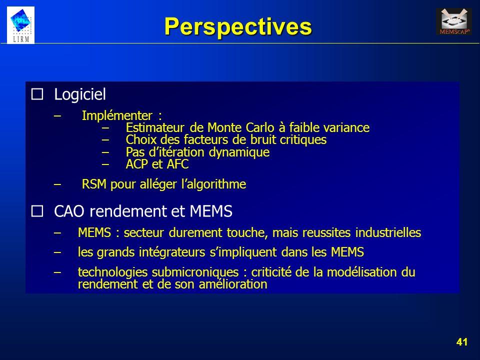 41 Perspectives Logiciel – Implémenter : –Estimateur de Monte Carlo à faible variance –Choix des facteurs de bruit critiques –Pas ditération dynamique