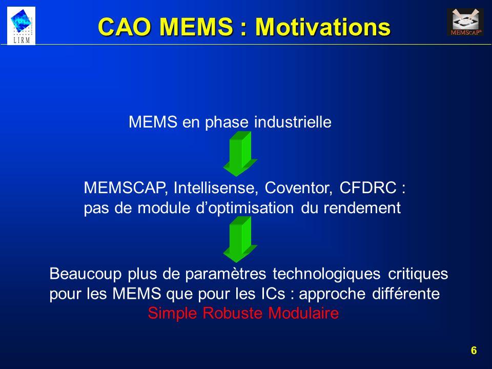 6 CAO MEMS : Motivations MEMS en phase industrielle Beaucoup plus de paramètres technologiques critiques pour les MEMS que pour les ICs : approche dif