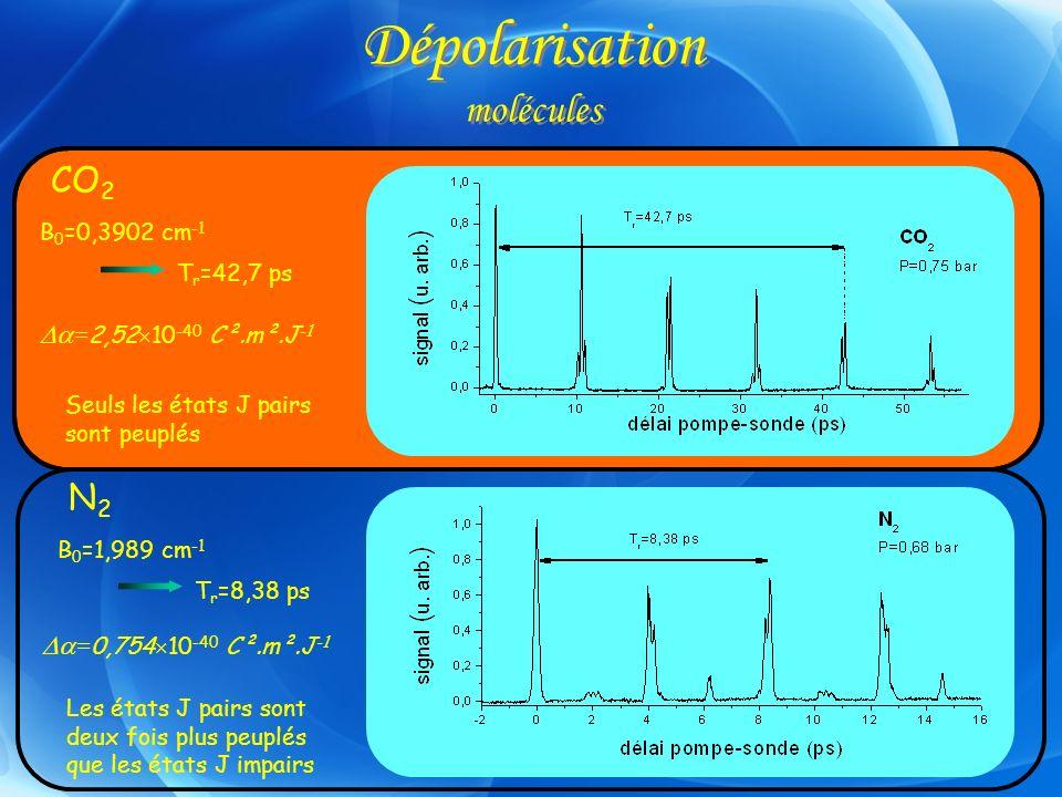 Dépolarisation molécules CO 2 B 0 =0,3902 cm -1 T r =42,7 ps Seuls les états J pairs sont peuplés N2N2 B 0 =1,989 cm -1 T r =8,38 ps Les états J pairs