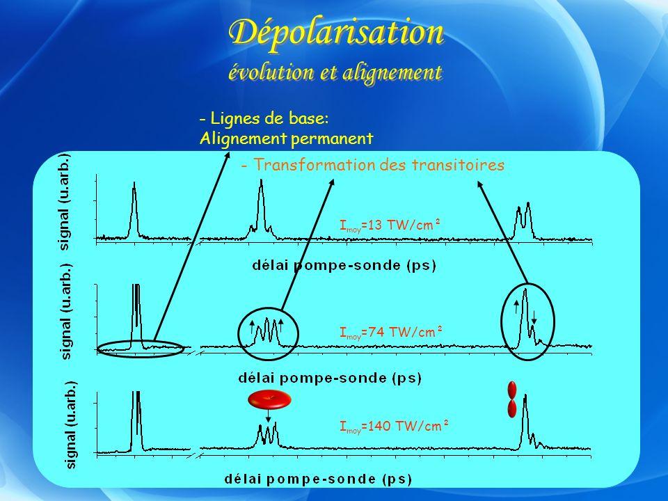 Dépolarisation évolution et alignement I moy =140 TW/cm² I moy =74 TW/cm² I moy =13 TW/cm² - Lignes de base: Alignement permanent - Transformation des