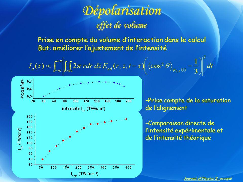 Dépolarisation effet de volume Prise en compte du volume dinteraction dans le calcul But: améliorer lajustement de lintensité Journal of Physics B, ac