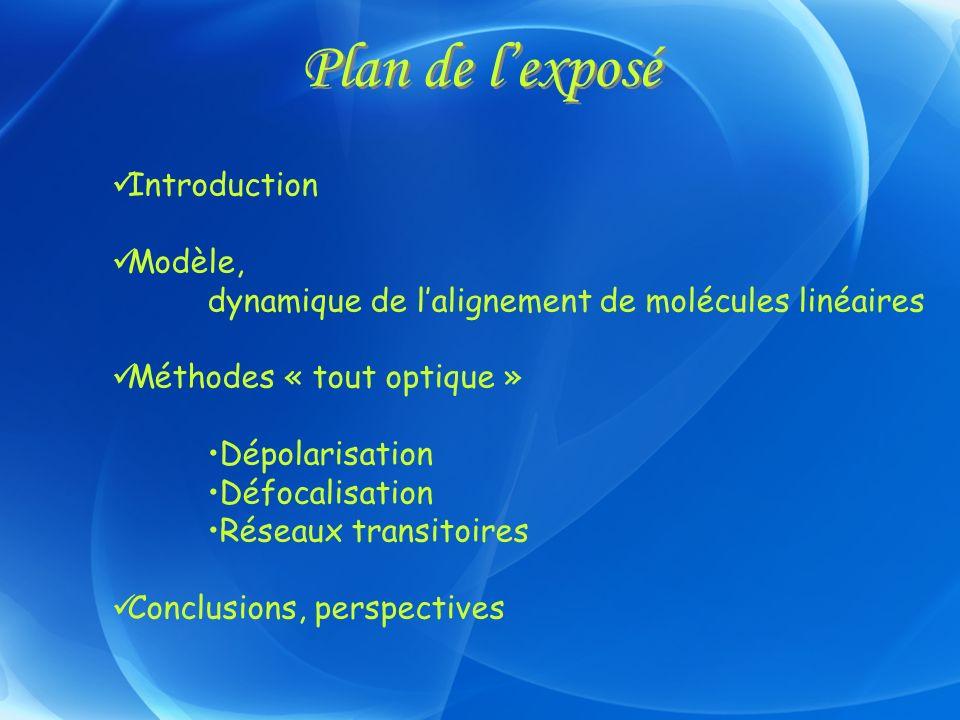 Plan de lexposé Introduction Modèle, dynamique de lalignement de molécules linéaires Méthodes « tout optique » Dépolarisation Défocalisation Réseaux t