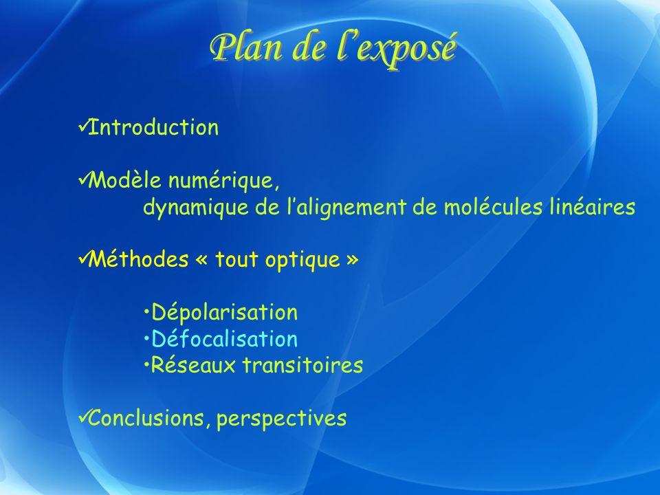 Plan de lexposé Introduction Modèle numérique, dynamique de lalignement de molécules linéaires Méthodes « tout optique » Dépolarisation Défocalisation