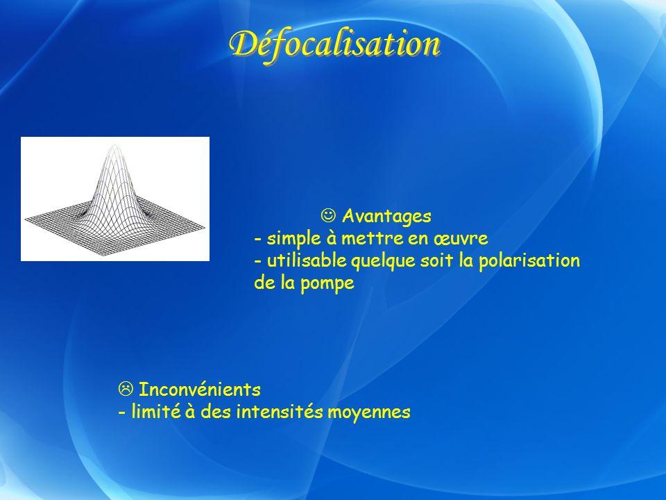 Défocalisation Avantages - simple à mettre en œuvre - utilisable quelque soit la polarisation de la pompe Inconvénients - limité à des intensités moye