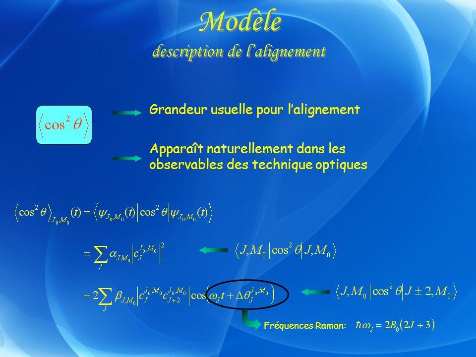 Modèle description de lalignement Fréquences Raman: Apparaît naturellement dans les observables des technique optiques Grandeur usuelle pour laligneme