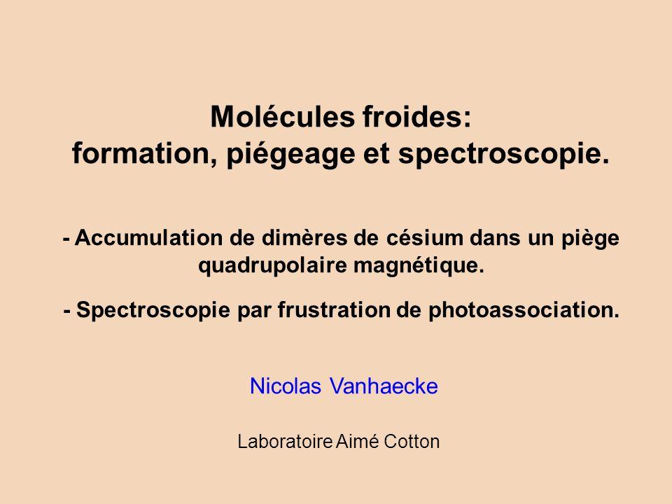 Plan de l exposé Des atomes froids aux molecules froides –L obtention de molécules froides –La source d atomes froids La spectroscopie des états moléculaires fondamentaux Le piégeage des molécules froides –Piège mixte atomes-molécules –Caractérisation du nuage de molécules froides piégées Des atomes froids aux molecules froides –L obtention de molécules froides –La source d atomes froids –Etude de la spectroscopie à deux photons –Spectroscopie de photoassociation frustrée –Détermination des potentiels moléculaires à grande distance