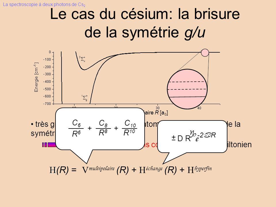 calcul d équations couplées Le cas du césium: la brisure de la symétrie g/u + u 3 g 1 très grande structure hyperfine atomique brisure de la symétrie moléculaire g/u avec le Hamiltonien H H(R) = V multipolaire (R) + H échange (R) + H hyperfin distance internucléaire R [a 0 ] C6C6 C8C8 C 10 R6R6 R8R8 R 10 + + -2aR g D R e + _ La spectroscopie à deux photons de Cs 2