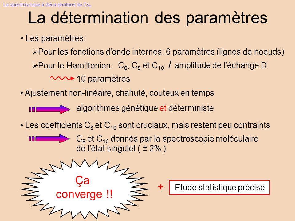 La détermination des paramètres Ajustement non-linéaire, chahuté, couteux en temps algorithmes génétique et déterministe Pour les fonctions d onde internes: 6 paramètres (lignes de noeuds) Pour le Hamiltonien: C 6, C 8 et C 10 / amplitude de l échange D Les paramètres: 10 paramètres Les coefficients C 8 et C 10 sont cruciaux, mais restent peu contraints C 8 et C 10 donnés par la spectroscopie moléculaire de l état singulet ( 2% ) + _ + Etude statistique précise Ca converge !.