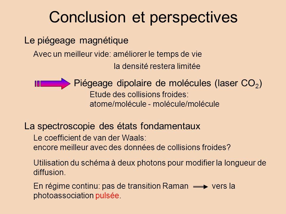 Conclusion et perspectives Le piégeage magnétique Avec un meilleur vide: améliorer le temps de vie la densité restera limitée Piégeage dipolaire de mo