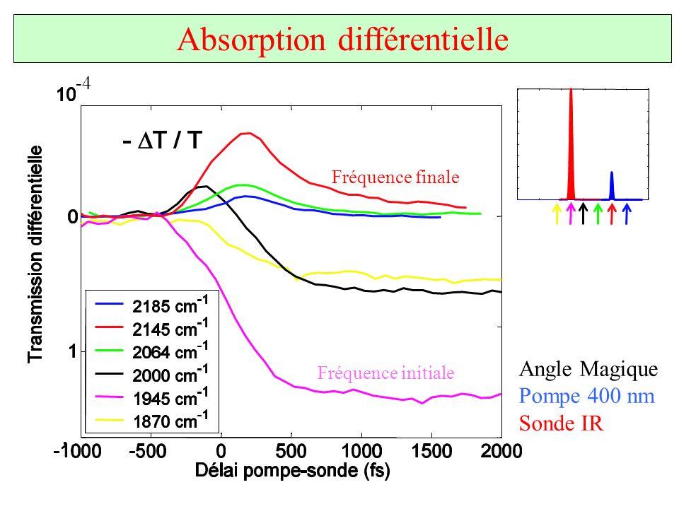 Absorption différentielle Angle Magique Pompe 400 nm Sonde IR Fréquence initiale Fréquence finale -4