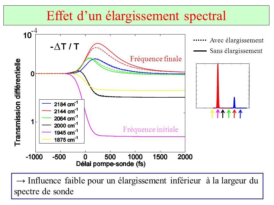 Effet dun élargissement spectral Influence faible pour un élargissement inférieur à la largeur du spectre de sonde Fréquence initiale Fréquence finale