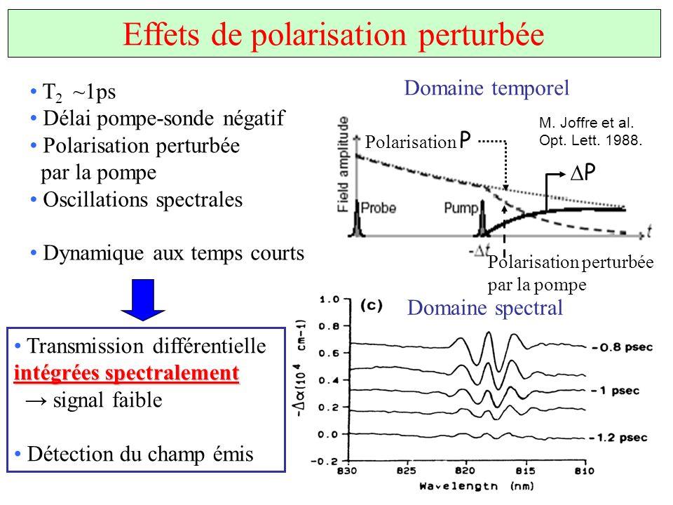 Effets de polarisation perturbée T 2 ~1ps Délai pompe-sonde négatif Polarisation perturbée par la pompe Oscillations spectrales Dynamique aux temps co