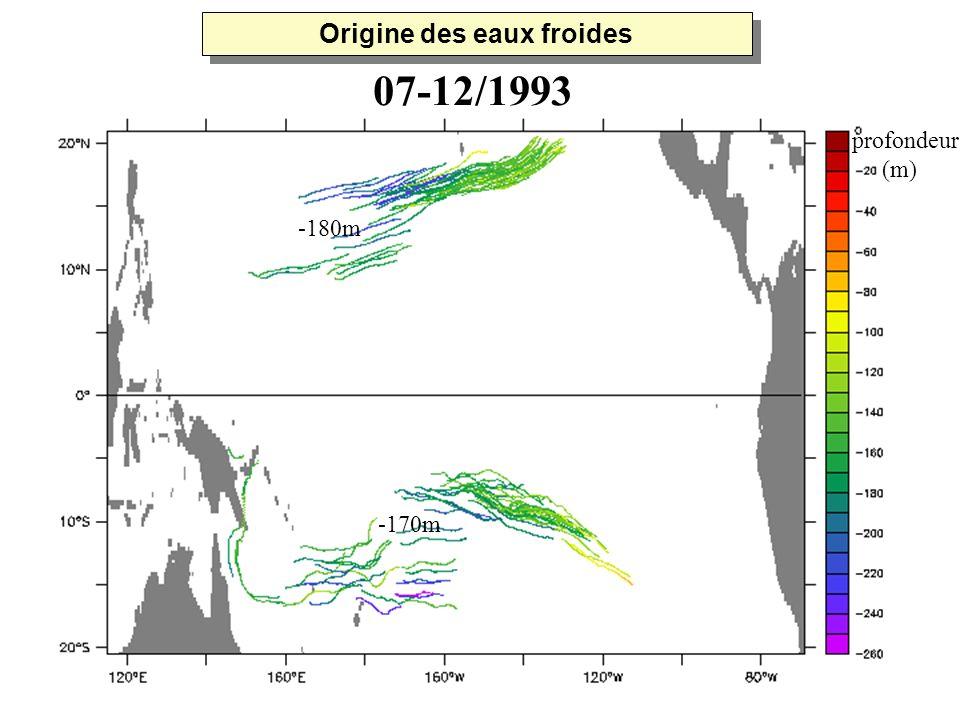 -180m -170m profondeur (m) 07-12/1993 Origine des eaux froides