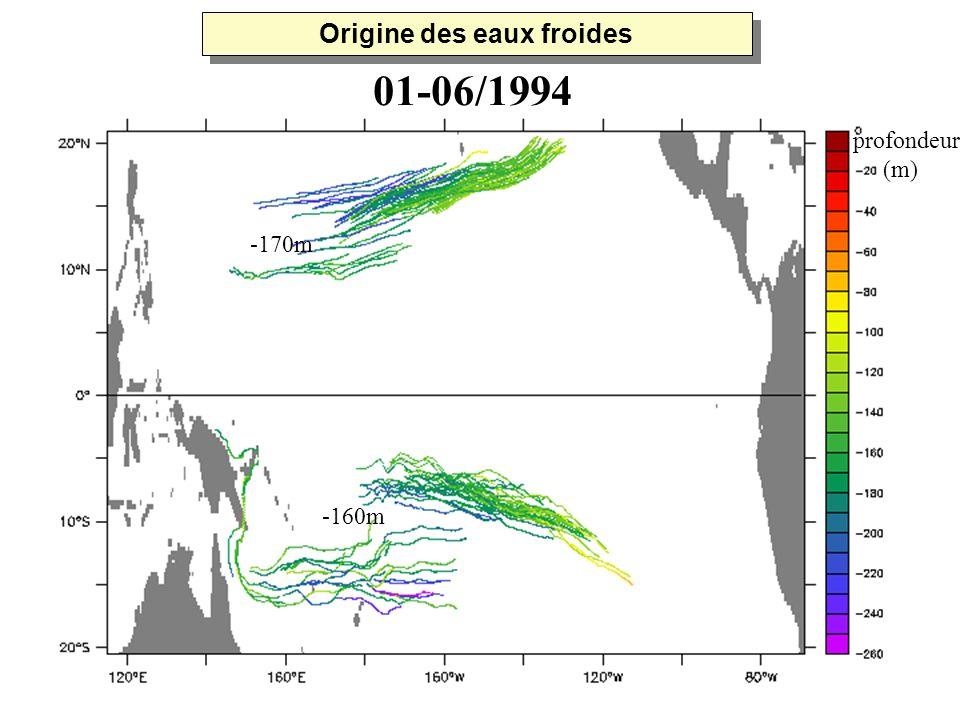 -170m -160m profondeur (m) 01-06/1994 Origine des eaux froides