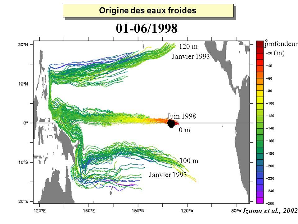 Juin 1998 0 m profondeur (m) Janvier 1993 01-06/1998 -120 m -100 m Izumo et al., 2002 Origine des eaux froides