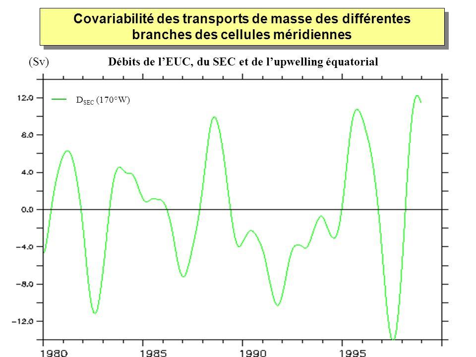 D SEC (170°W) Covariabilité des transports de masse des différentes branches des cellules méridiennes Débits de lEUC, du SEC et de lupwelling équatori