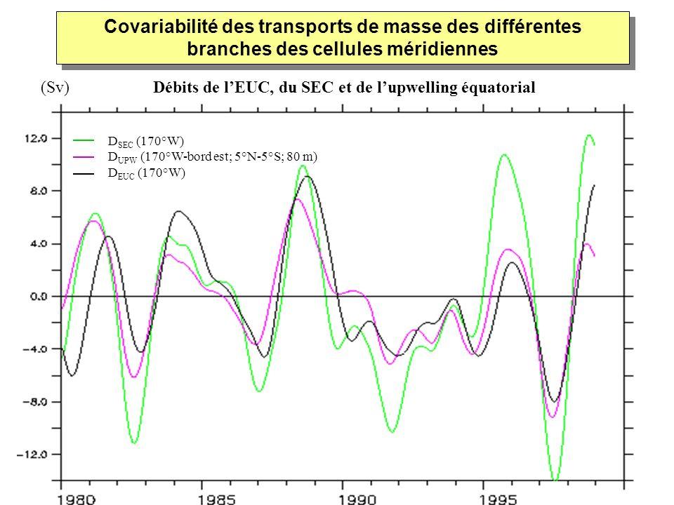 D SEC (170°W) D UPW (170°W-bord est; 5°N-5°S; 80 m) D EUC (170°W) Covariabilité des transports de masse des différentes branches des cellules méridien