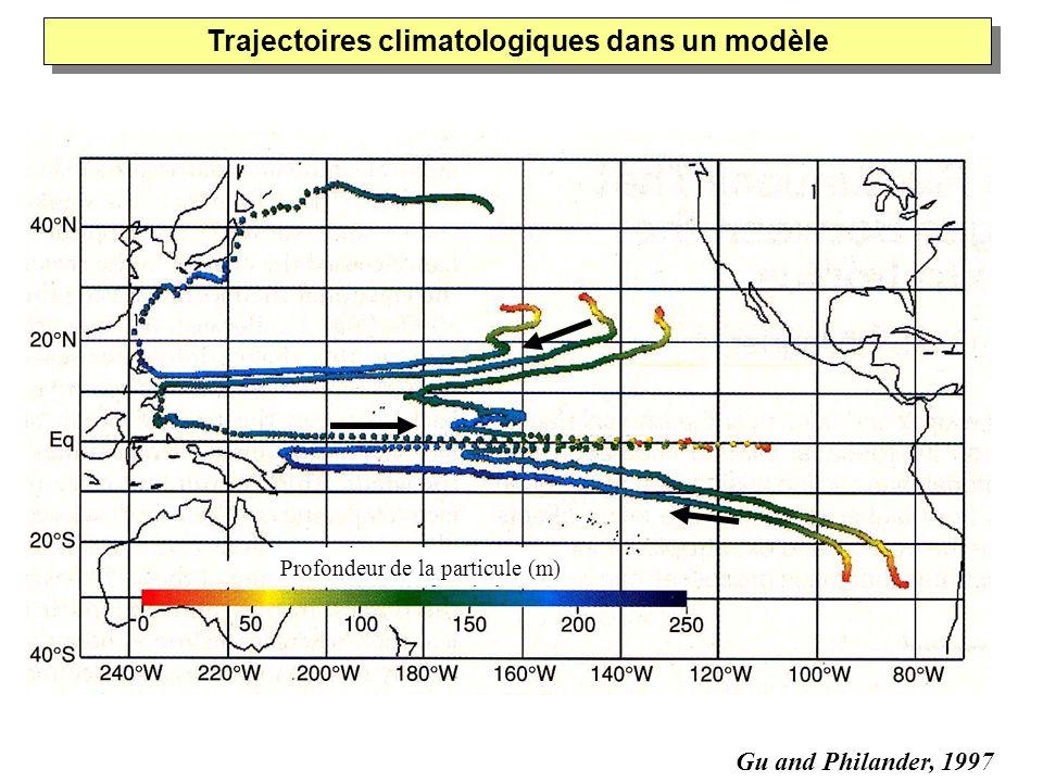 Gu and Philander, 1997 Profondeur de la particule (m) Trajectoires climatologiques dans un modèle