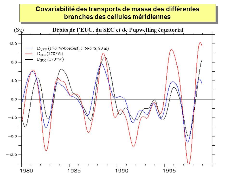 D UPW (170°W-bord est; 5°N-5°S; 80 m) D SEC (170°W) D EUC (170°W) Covariabilité des transports de masse des différentes branches des cellules méridien