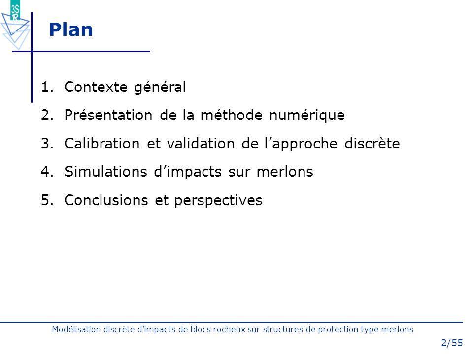 Modélisation discrète d'impacts de blocs rocheux sur structures de protection type merlons 2/55 Plan 1.Contexte général 2.Présentation de la méthode n