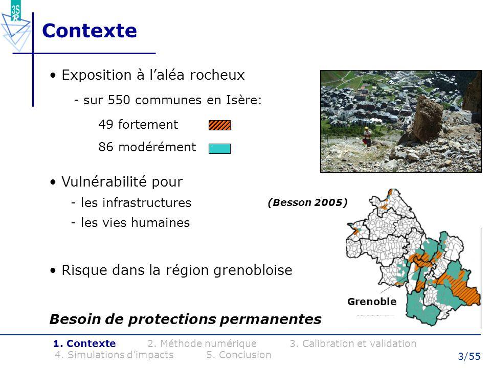 3/55 Contexte Exposition à laléa rocheux - sur 550 communes en Isère: 49 fortement 86 modérément 1. Contexte 2. Méthode numérique 3. Calibration et va