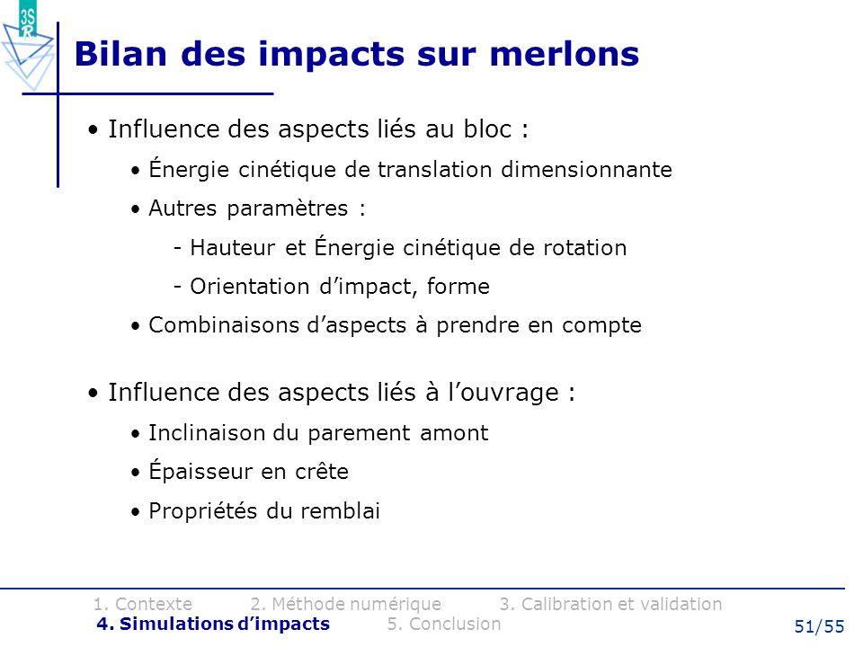 51/55 Bilan des impacts sur merlons 1. Contexte 2. Méthode numérique 3. Calibration et validation 4. Simulations dimpacts 5. Conclusion Influence des