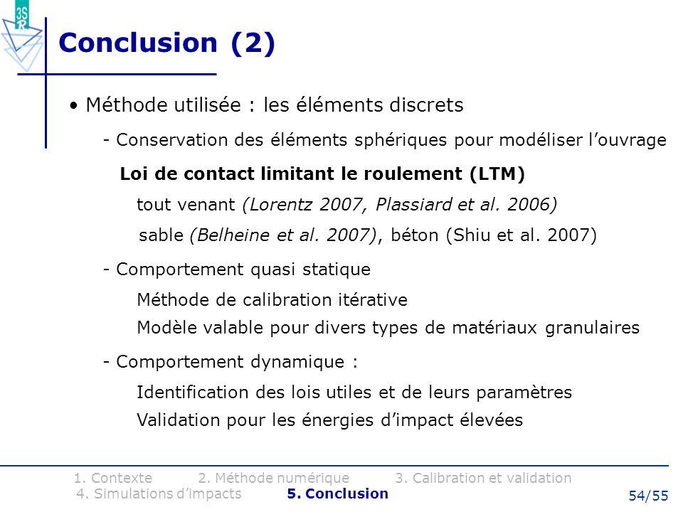 54/55 Conclusion (2) Méthode utilisée : les éléments discrets - Conservation des éléments sphériques pour modéliser louvrage Loi de contact limitant l