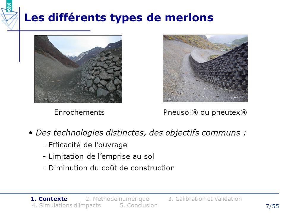 8/55 Connaissance de limpact sur merlon Dimensionnement actuel : - Parement amont renforcé et raidi - Hauteur de passage - Énergie cinétique de translation 1.
