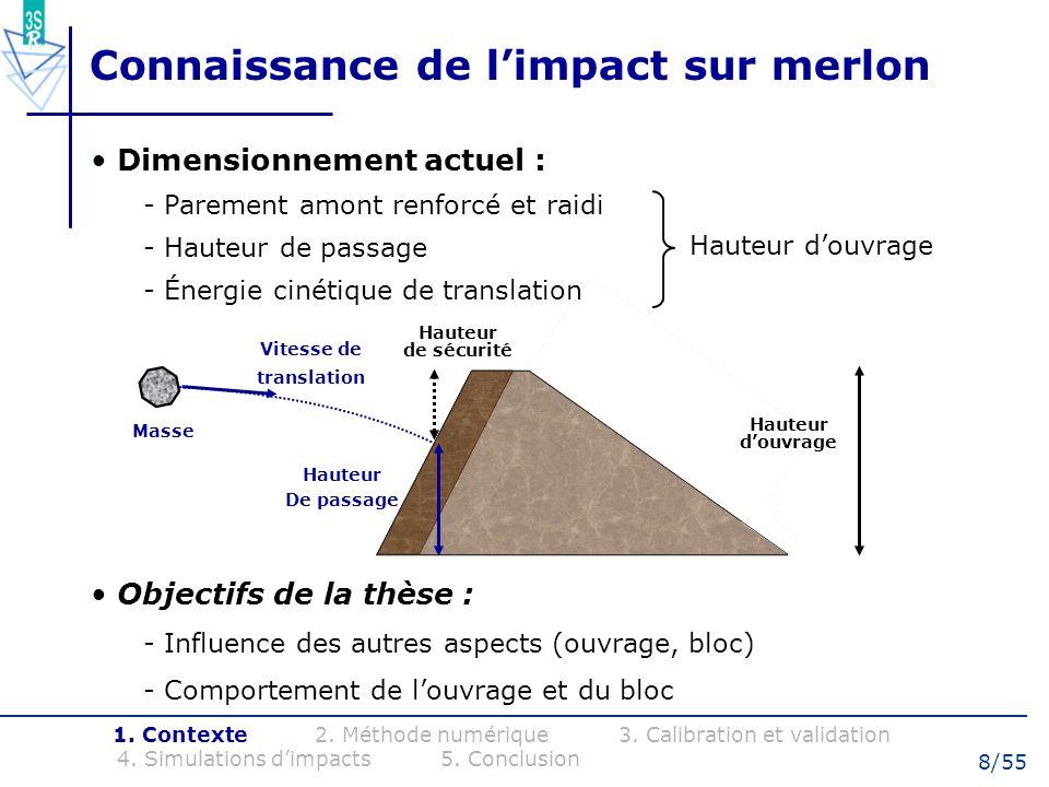 29/55 Impact en remblai à énergie modérée Caractéristiques dessais (Montani 1998): - Impacteur en béton (masse 500 kg) - Couche de remblai (épaisseur 0.5 m) - Impact en fond de puits - Hauteurs de chutes h = 1, 4, 7 et 10 m Dispositif de mesure : - Laccélération de limpacteur - Leffort transmis par le remblai - La pénétration finale 1.