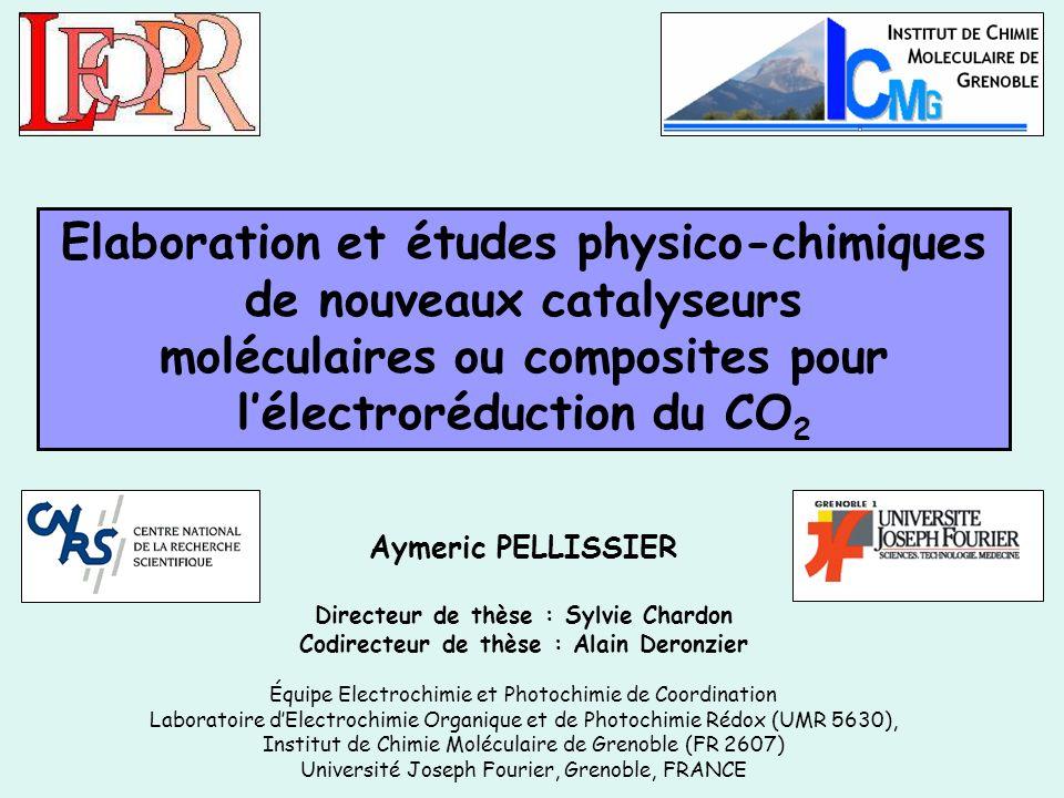 Electrocatalyse préparative de la réduction du CO 2 Conditions délectrocatalyse : A potentiel imposé en milieu hydro-organique MeCN/H 2 O (9/1) sur feutre de carbone.