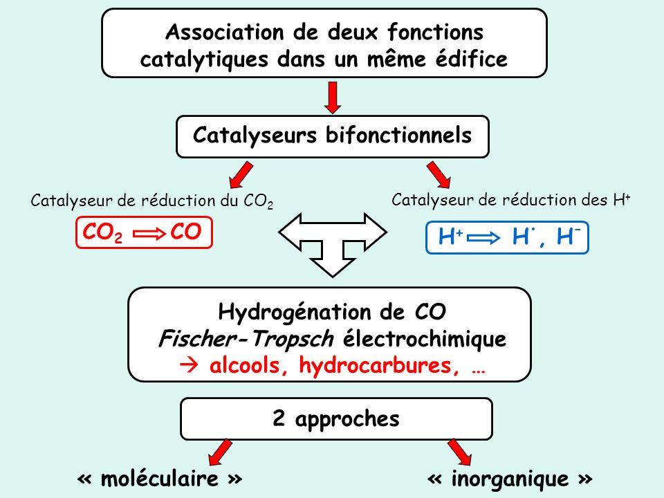 Association de deux fonctions catalytiques dans un même édifice CO 2 CO H + H., H - Catalyseur de réduction du CO 2 Catalyseur de réduction des H + Ca