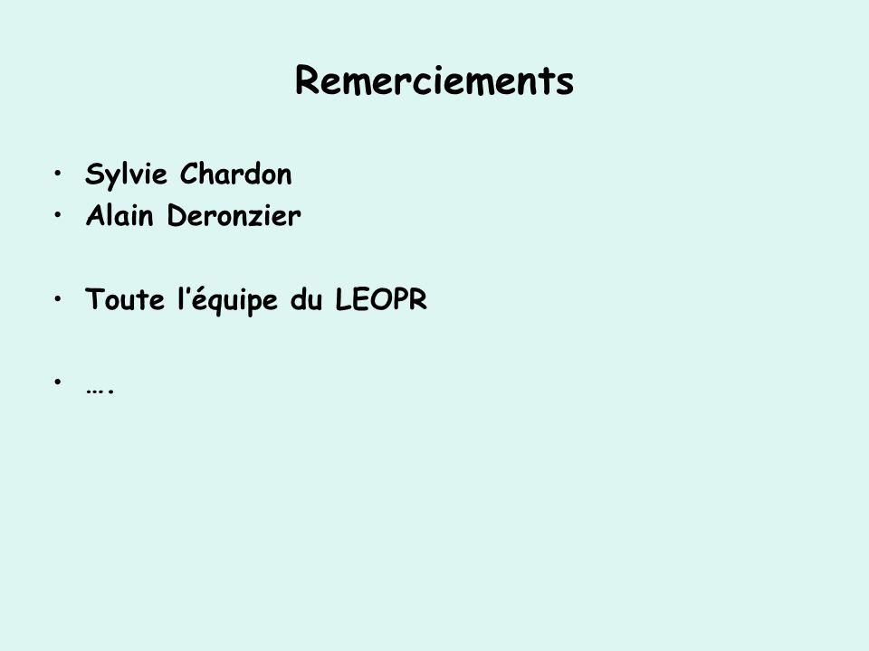 Remerciements Sylvie Chardon Alain Deronzier Toute léquipe du LEOPR ….