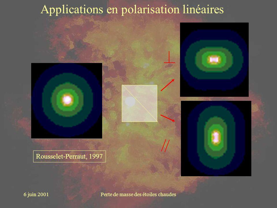6 juin 2001Perte de masse des étoiles chaudes Applications en polarisation linéaires Rousselet-Perraut, 1997