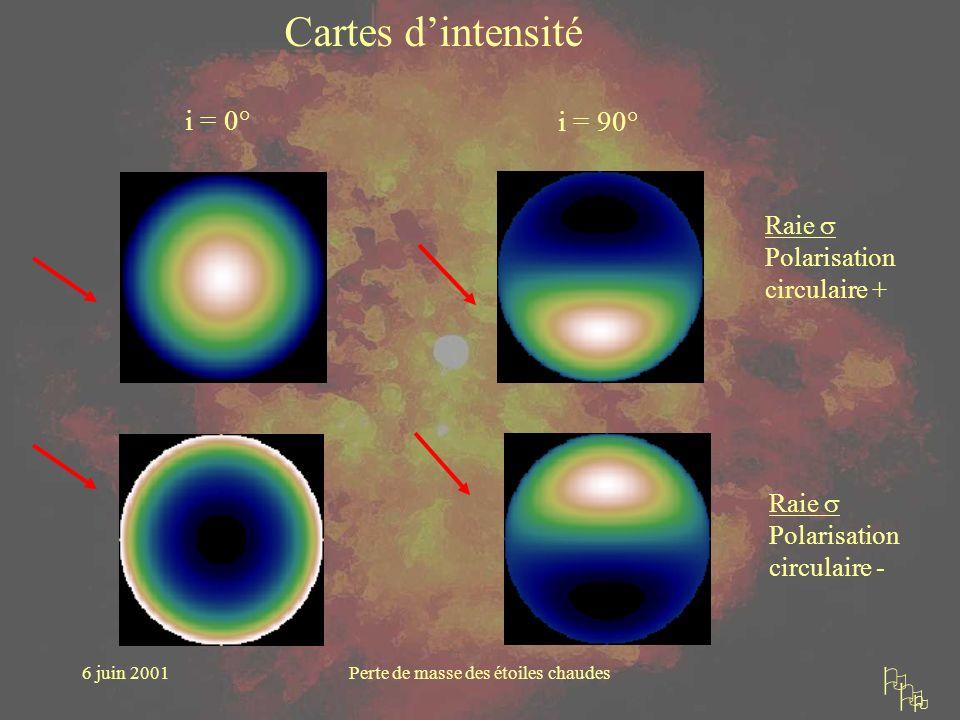 6 juin 2001Perte de masse des étoiles chaudes i = 0° i = 90° Cartes dintensité Raie Polarisation circulaire + Raie Polarisation circulaire -