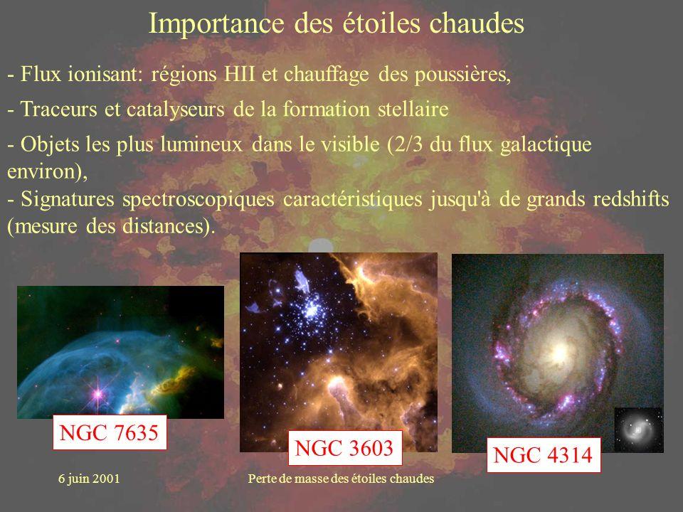 6 juin 2001Perte de masse des étoiles chaudes Importance des étoiles chaudes NGC 7635 - Flux ionisant: régions HII et chauffage des poussières, NGC 36