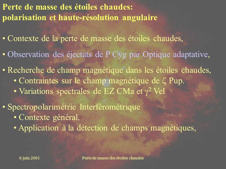 6 juin 2001Perte de masse des étoiles chaudes Perte de masse des étoiles chaudes: polarisation et haute-résolution angulaire Contexte de la perte de m