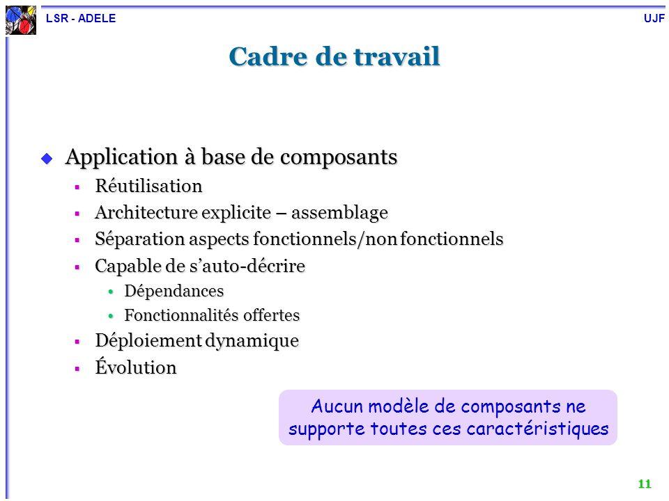 LSR - ADELE UJF 11 Cadre de travail Application à base de composants Application à base de composants Réutilisation Réutilisation Architecture explici